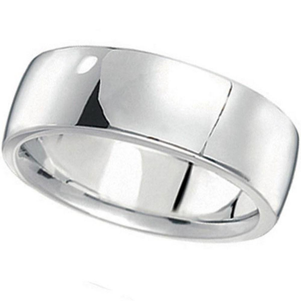 Mens Wedding Band Low Dome Comfort-Fit in platinum 7 mm