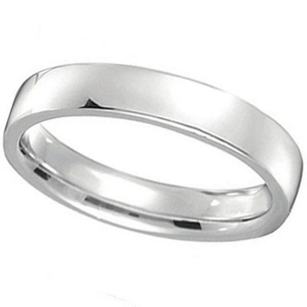 platinum Wedding Ring Low Dome Comfort Fit 4 mm