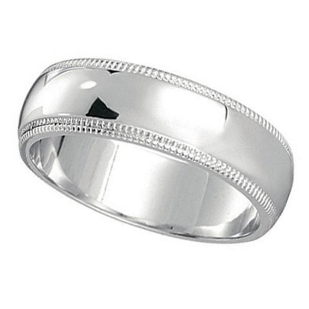 Mens Wedding Band Dome Comfort-Fit Milgrain 950 Platinu
