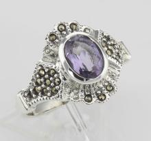Victorian Style Genuine Amethyst and Marcasite Ring - Sterling Silver #PAPPS97786