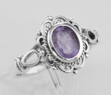 Classic Victorian Style Genuine Amethyst Ring - Sterling Silver #PAPPS97795