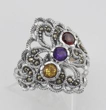 Antique Style Marcasite Multi-Stone Ring - Sterling Silver #PAPPS97822