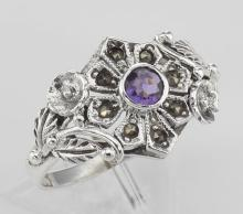 Victorian Style Genuine Amethyst and Marcasite Flower Ring - Sterling Silver #PAPPS97796