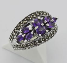 Amethyst Marcasite Ring - Sterling Silver #PAPPS97802
