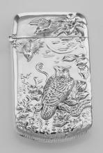 Repousse Wildlife Birds Match Safe Holder Vesta Case - Sterling Silver #PAPPS97895