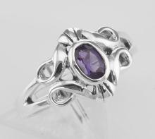Antique Style Genuine Amethyst Gemstone Ring - Sterling Silver #PAPPS97790