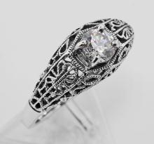 Cubic Zirconia Filigree Ring - Sterling Silver #PAPPS97717
