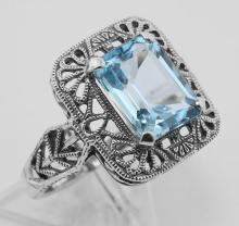 Classic Art Deco Style Blue Topaz Filigree Ring - Sterling Silver #PAPPS97749