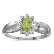 Certified 10k White Gold Oval Peridot And Diamond Ring 0.41 CTW #PAPPS50972