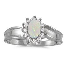 Certified 10k White Gold Oval Opal And Diamond Ring 0.33 CTW #PAPPS51315