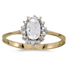 Certified 14k Yellow Gold Oval White Topaz And Diamond Ring 0.5 CTW #PAPPS51234