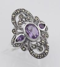 Amethyst and Marcasite Ring - Sterling Silver #PAPPS97799