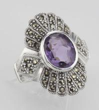 2 1/4 Carat Genuine Amethyst and Marcasite Ring - Sterling Silver #PAPPS97788