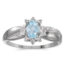 Certified 10k White Gold Oval Aquamarine And Diamond Ring 0.3 CTW #PAPPS51009