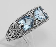 Antique Style 2 Stone Blue Topaz Filigree Ring Sterling Silver #PAPPS97751