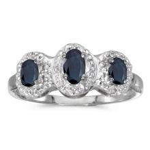 Certified 14k White Gold Oval Sapphire And Diamond Three Stone Ring 0.64 CTW #PAPPS51312