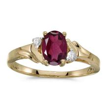 Certified 10k Yellow Gold Oval Rhodolite Garnet And Diamond Ring 0.91 CTW #PAPPS50973
