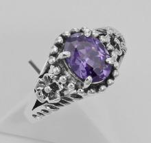 Synthetic Amethyst Ring - Sterling Silver #PAPPS97791