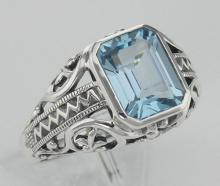 Large Emerald Cut Genuine Blue Topaz Filigree Ring - Sterling Silver #PAPPS97753