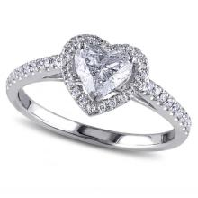 Heart Shaped Diamond Halo Engagement Ring in 14k White Gold (1.00ct) #PAPPS20656