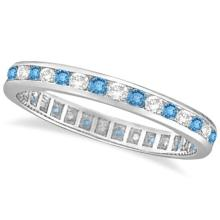 Blue Topaz and Diamond Channel-Set Eternity Ring 14k White Gold (1.00ct) #PAPPS20747
