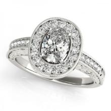 CERTIFIED PLATINUM 1.02 CT (G-H/VS-SI1) DIAMOND HALO ENGAGEMENT RING #PAPPS85887