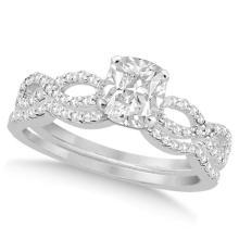 Infinity Cushion-Cut Diamond Bridal Ring Set 14k White Gold (1.13ct) #PAPPS20609