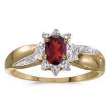 Certified 10k Yellow Gold Oval Garnet And Diamond Ring 0.48 CTW #PAPPS51011