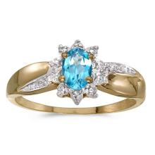 Certified 14k Yellow Gold Oval Blue Topaz And Diamond Ring 0.41 CTW #PAPPS50899