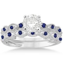 Antique Blue Sapphire Engagement Ring Set 14k White Gold (1.06ct) #PAPPS20652