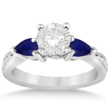 Diamond and Pear Blue Sapphire Engagement Ring 18k White Gold (1.69ct) #PAPPS20720