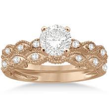 Antique Diamond Engagement Ring Set 14k Rose Gold (0.70ct) #PAPPS20746