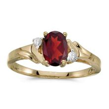 Certified 14k Yellow Gold Oval Garnet And Diamond Ring 0.74 CTW #PAPPS50902