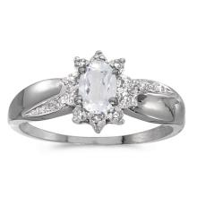 Certified 10k White Gold Oval White Topaz And Diamond Ring 0.49 CTW #PAPPS51007