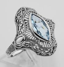 Victorian Style 1.5 Carat Blue Topaz Filigree Ring - Sterling Silver #PAPPS97752