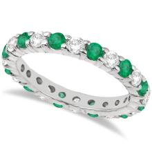 Eternity Diamond and Emerald Ring Band 14k White Gold (2.35ct) #PAPPS20844