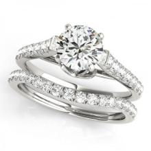 CERTIFIED 18KT WHITE GOLD 1.24 CT G-H/VS-SI1 DIAMOND BRIDAL SET #PAPPS86749