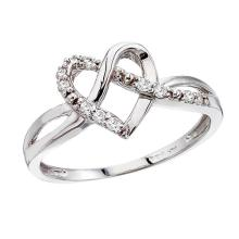 Certified 14K White Gold .10 Ct Diamond Heart Ring 0.1 CTW #PAPPS50829