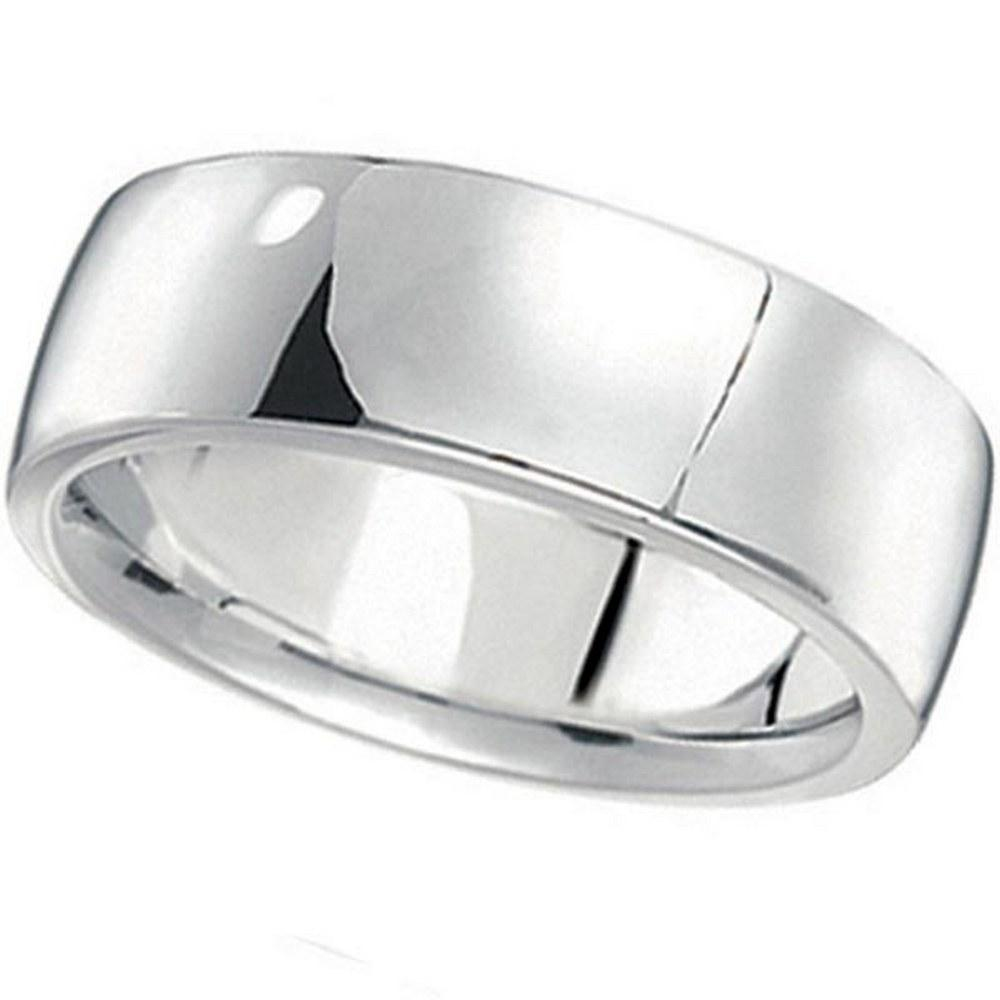 Mens Wedding Band Low Dome Comfort-Fit in 14k White Gol