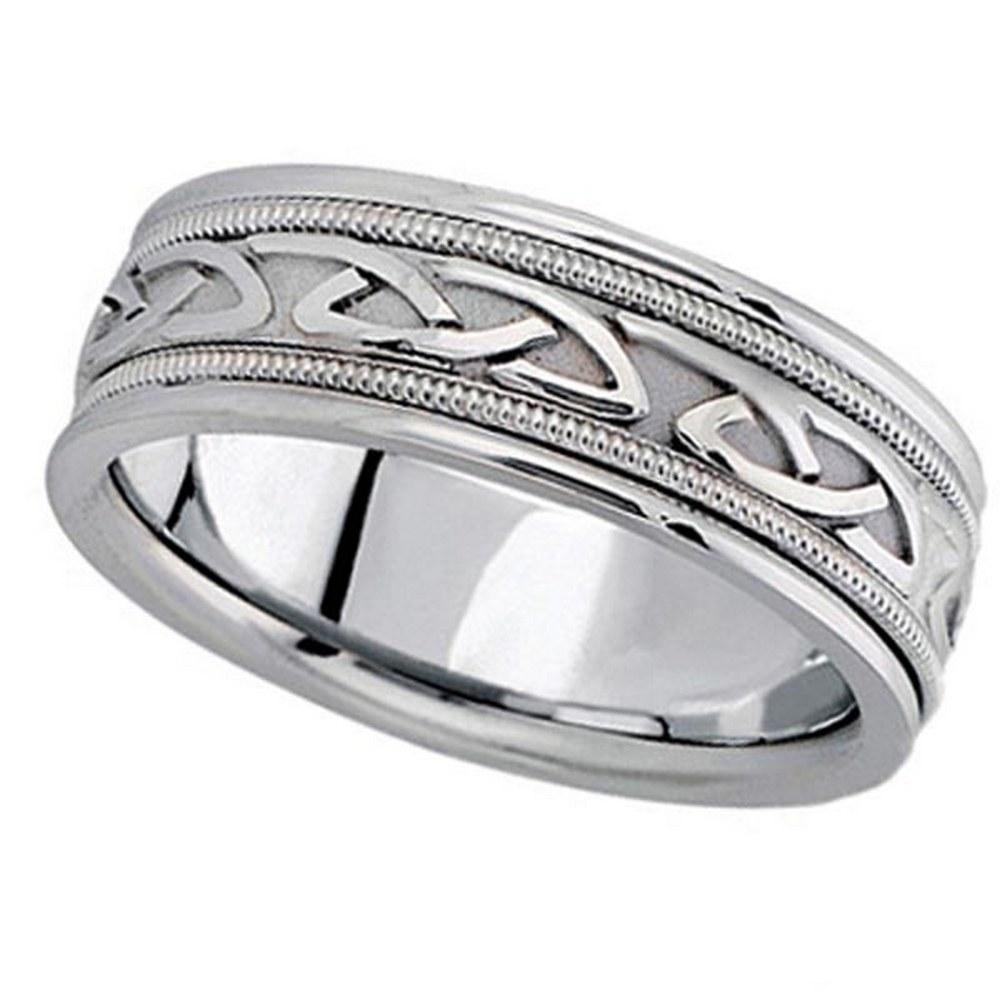 Hand Made Celtic Wedding Ring Band in platinum 6mm