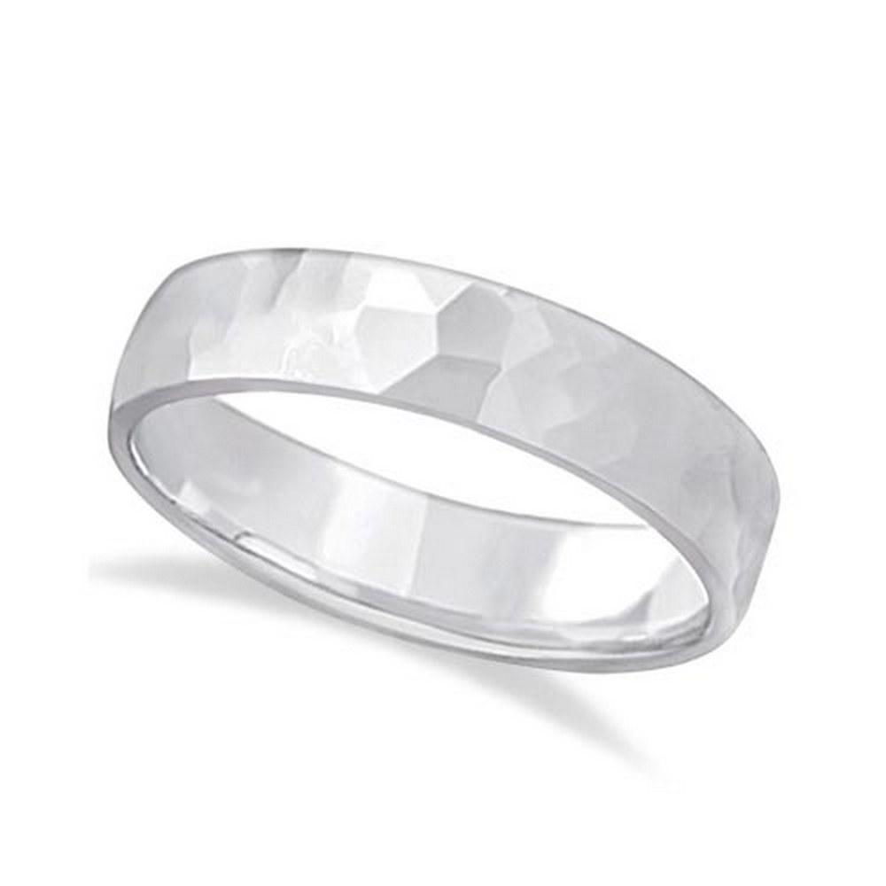 Mens Hammered Finished Carved Band Wedding Ring platinu