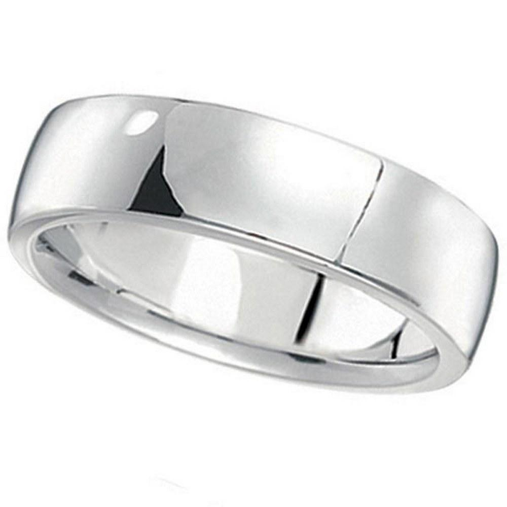 Mens Wedding Ring Low Dome Comfort-Fit in platinum 6 mm