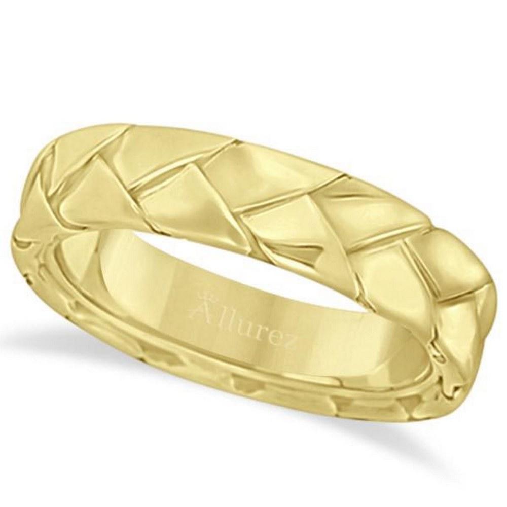 Mens High Polish Braided Handwoven Wedding Ring 14k Yel