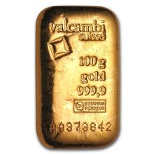 100 gram Gold Bar - Valcambi (Poured w/Assay) #75208v3
