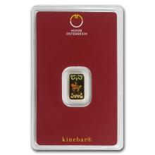 1 gram Gold Bar - Austrian Mint Kinebar Design (In Assay) #75161v3