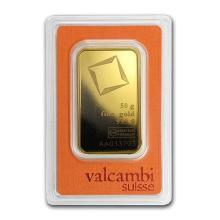 50 gram Gold Bar - Valcambi (Pressed w/Assay) #75228v3