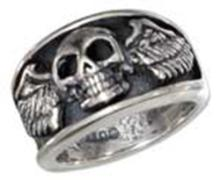 STERLING SILVER MENS SKULL WITH WINGS RING #17786v3