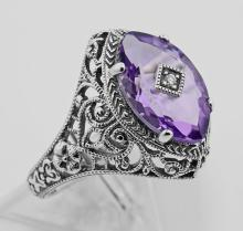 Victorian Style Sterling Silver Amethyst Filigree Ring w/ Diamond Center #98208v2