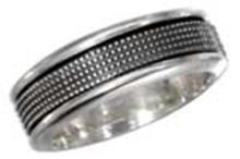 STERLING SILVER MENS ANTIQUED WORRY RING WITH BEADED SPINNING BAND #17797v3