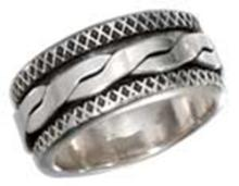 STERLING SILVER MENS ANTIQUED WORRY RING WITH TWISTED SPINNING BAND #17791v3